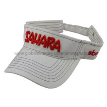 Cotton Twill Short Visor Cap with 3D Embroidery and Velcro Strap at BackNew